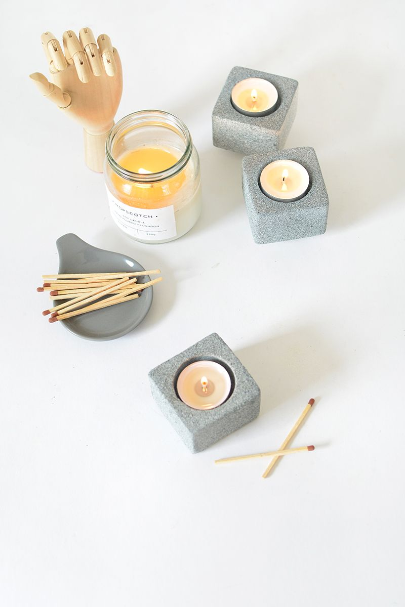 DIY granite tealight holder