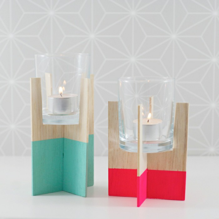 DIY midcentury candle holders