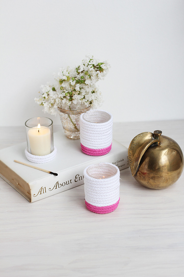 DIY rope wrapped candles