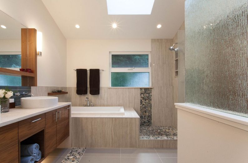 Floating bathroom cabinet and rain glass for privacy