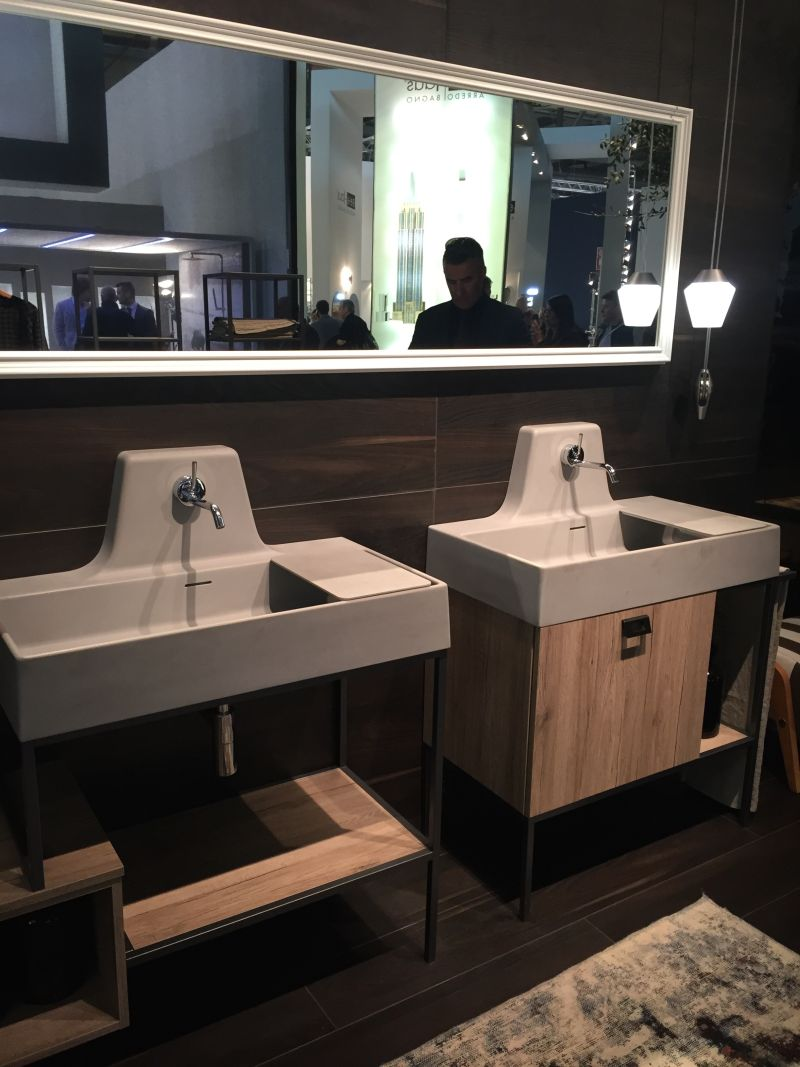 Freestanding double sink vanity with mirror