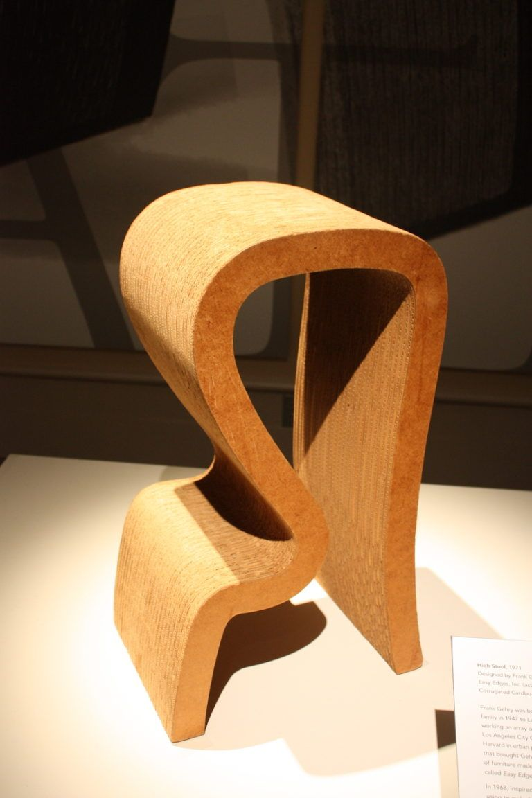 Gehry's Tall Stool is made from corrugated cardboard, masonite and wood.