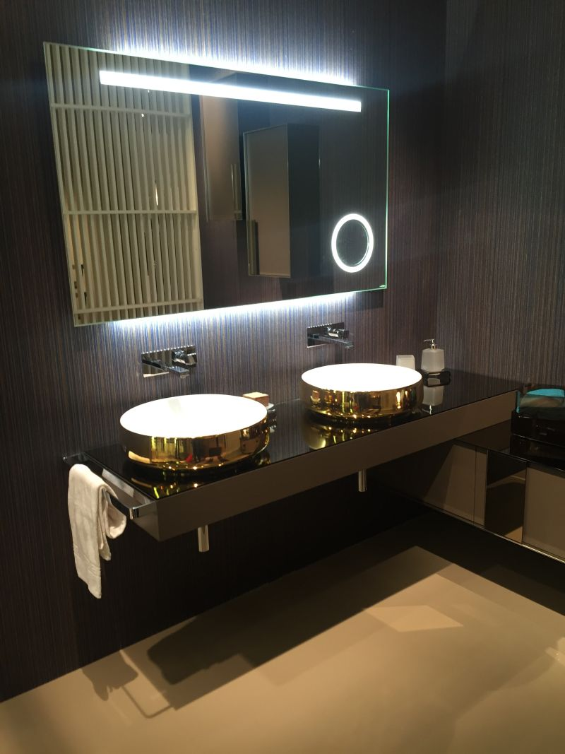 gold wash basin and led light mirror - Bathroom Remodel Designs