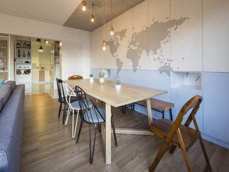 Kiev Levent apartment dining area wall map
