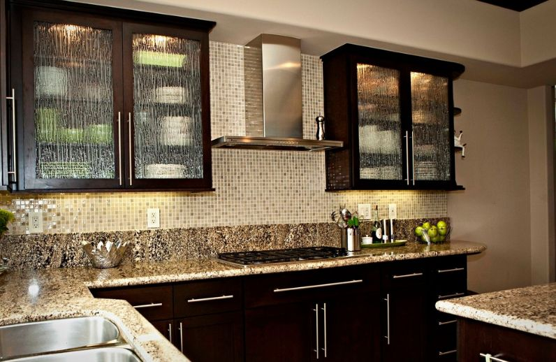 Kitchen cabinets with Glass Rain Doors