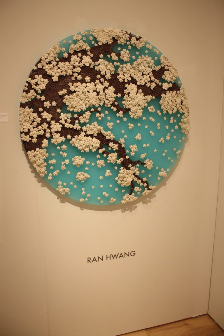 Many of Hwang's pieces feature delicate cherry blossoms.