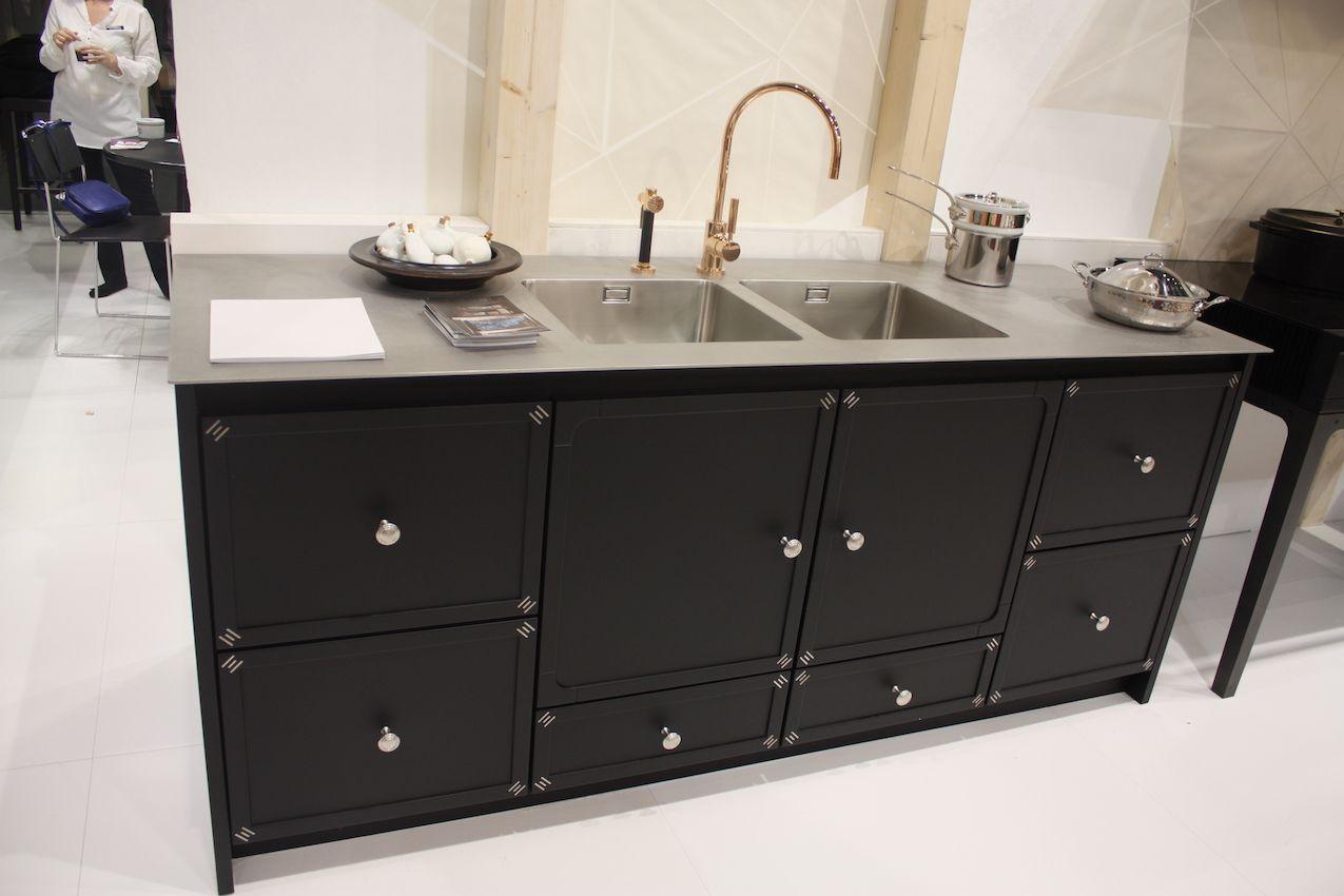 La cornue double sink black cabinets