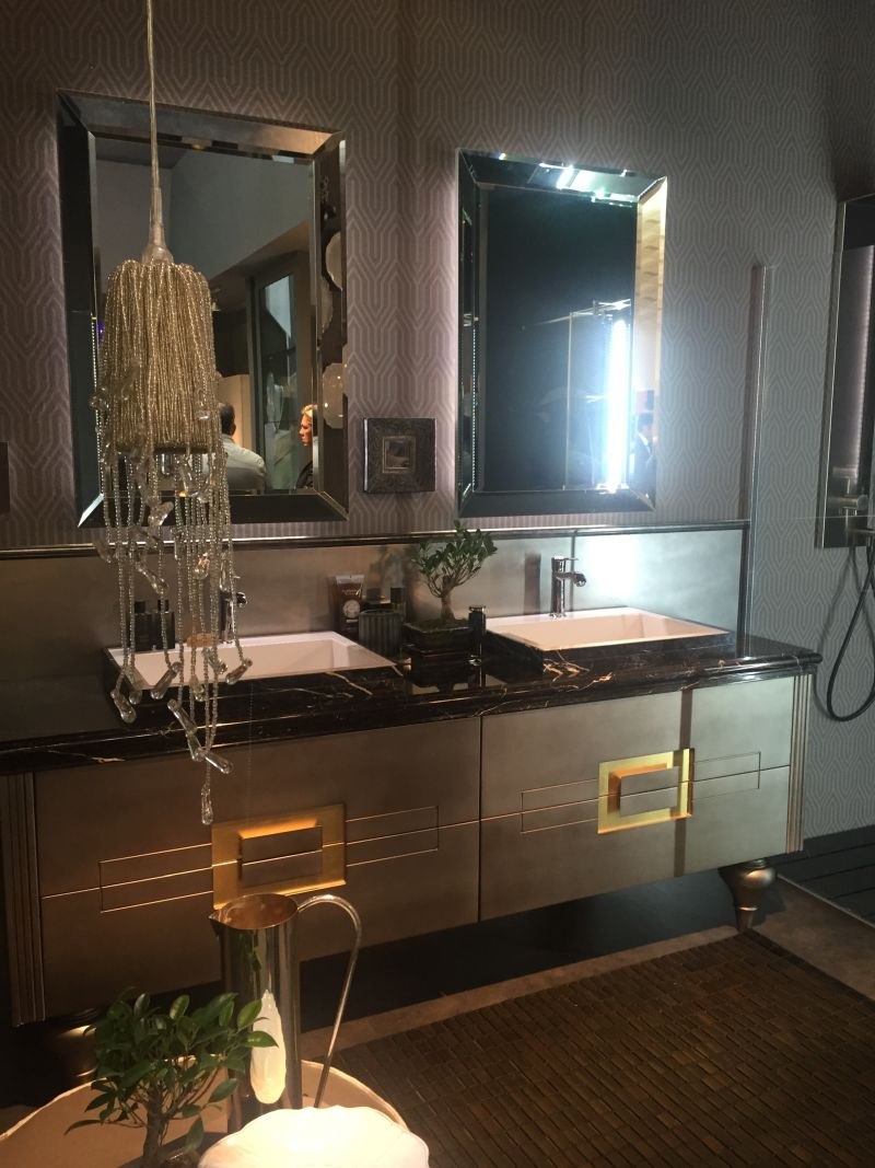 Luxury double sink vanity with mirrors