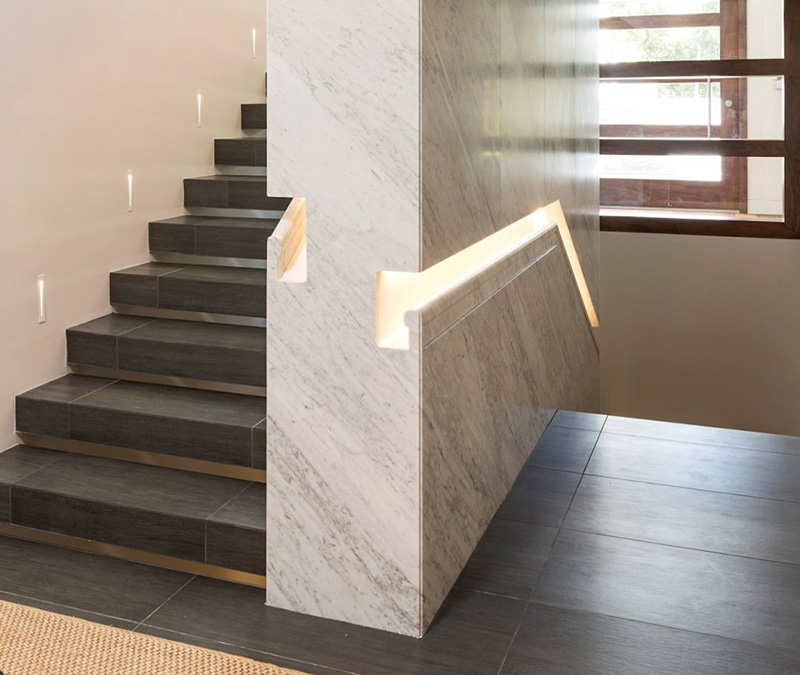 Marble built in handrail