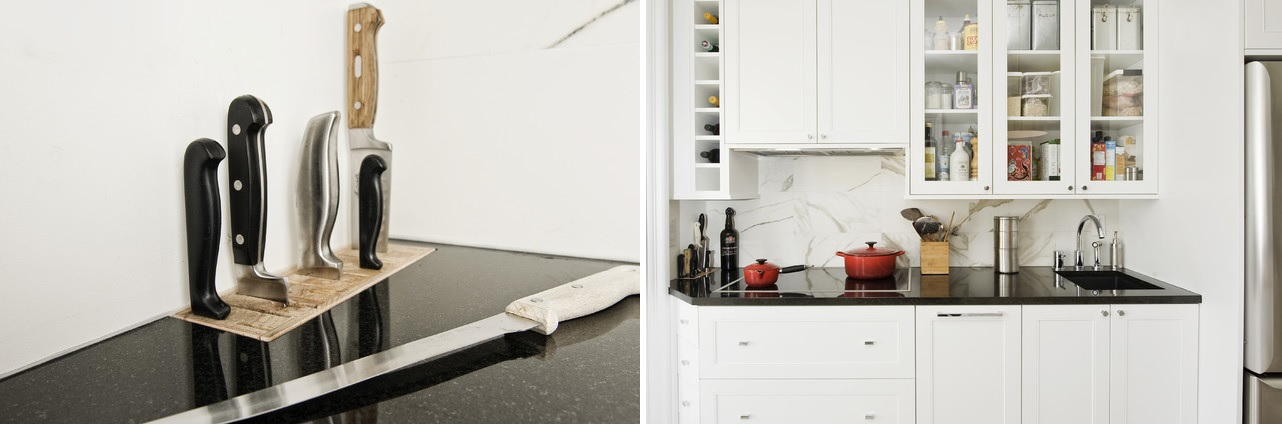 Marble countertop with built in storage for knife