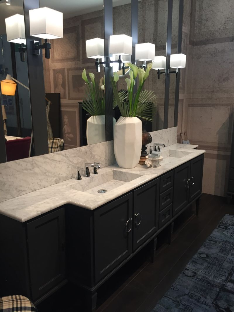 Marble top bathroom sink vanity and large mirror