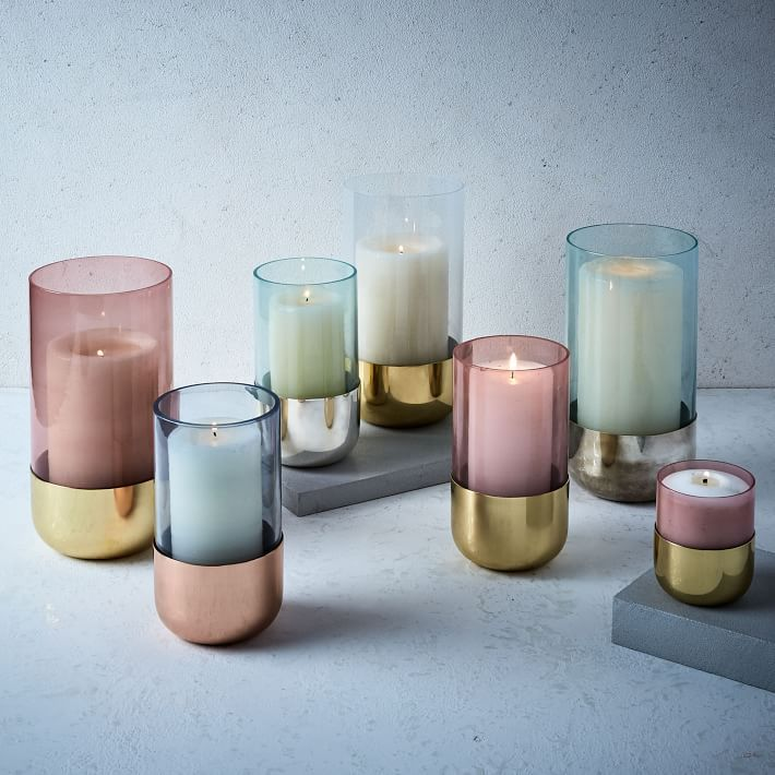 Metallic paste glass candle holder