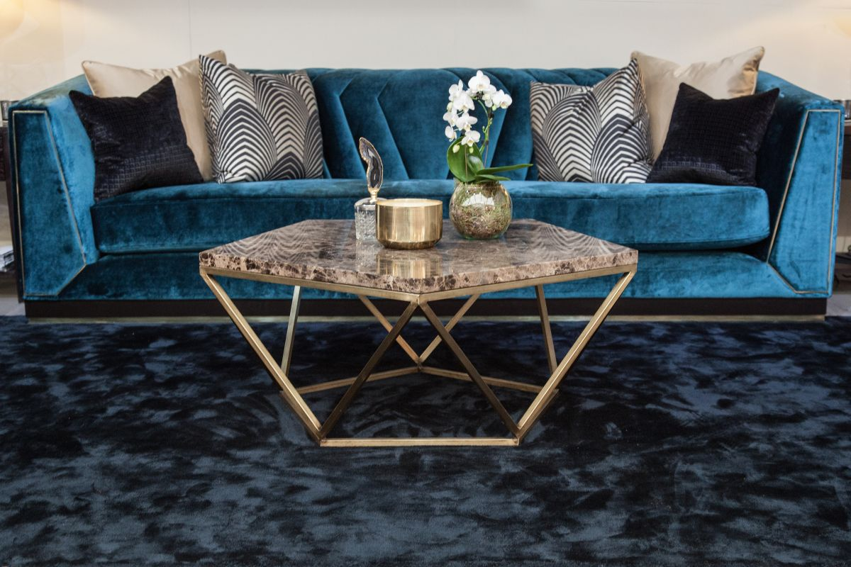Orion coffee table made from timeless brass and marble