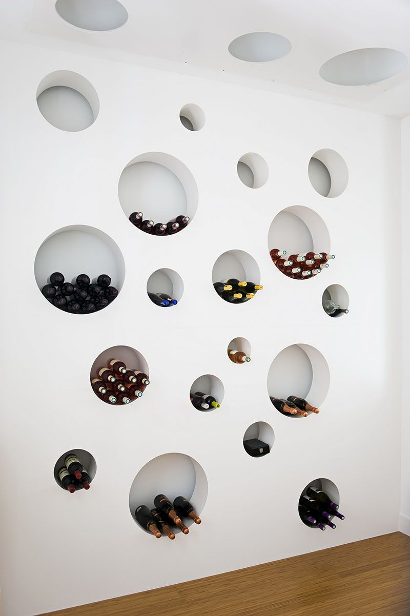 Round built in storage space for wine