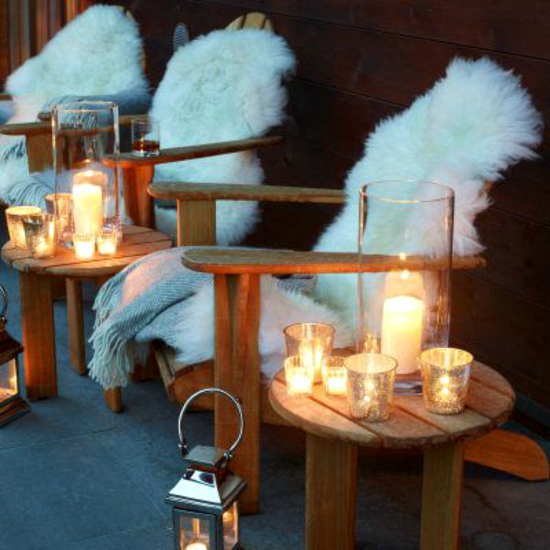 Sheepskin rug porch chairs