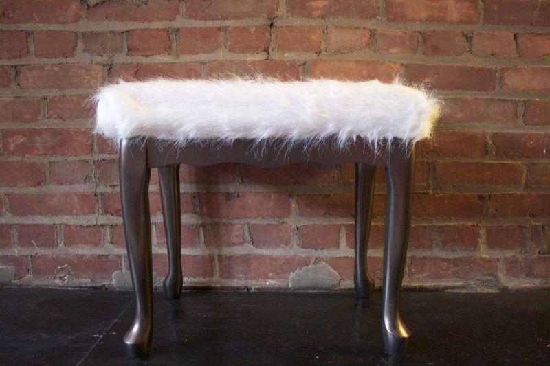 Sheepskin rug stool