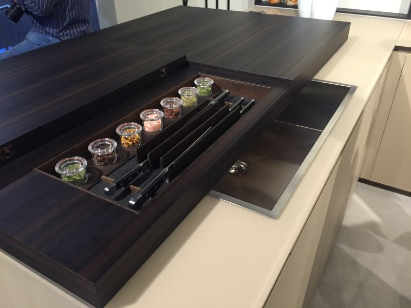 Sliding countertop with built in knife storage and spices