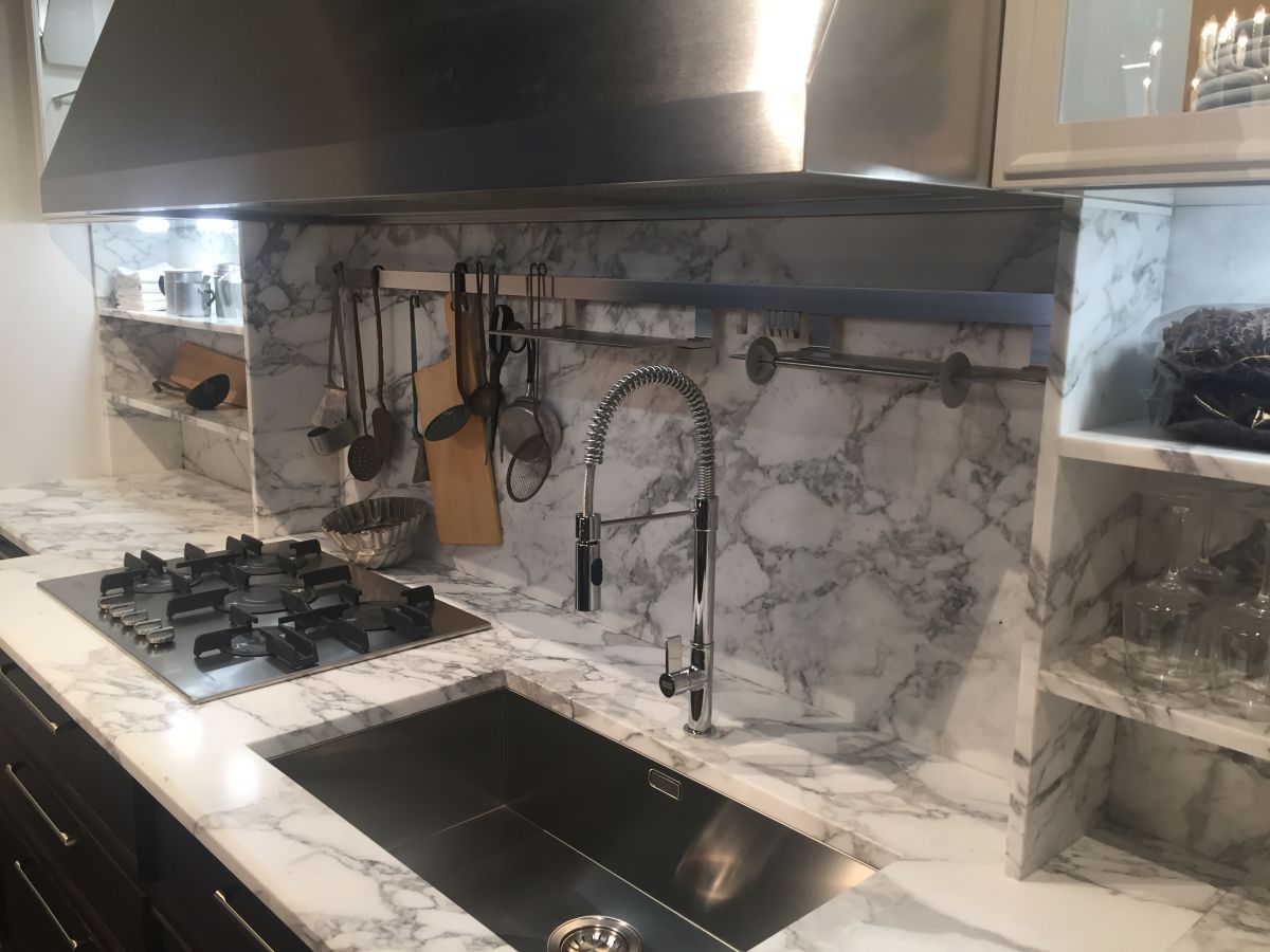 Solid marble shelves in kitchen