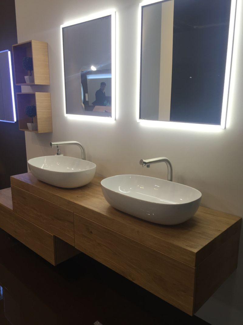 Solid wood countertop for sink and large led mirror