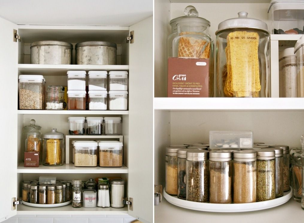 use lazy susans for the spices - Kitchen Cabinet Organizers