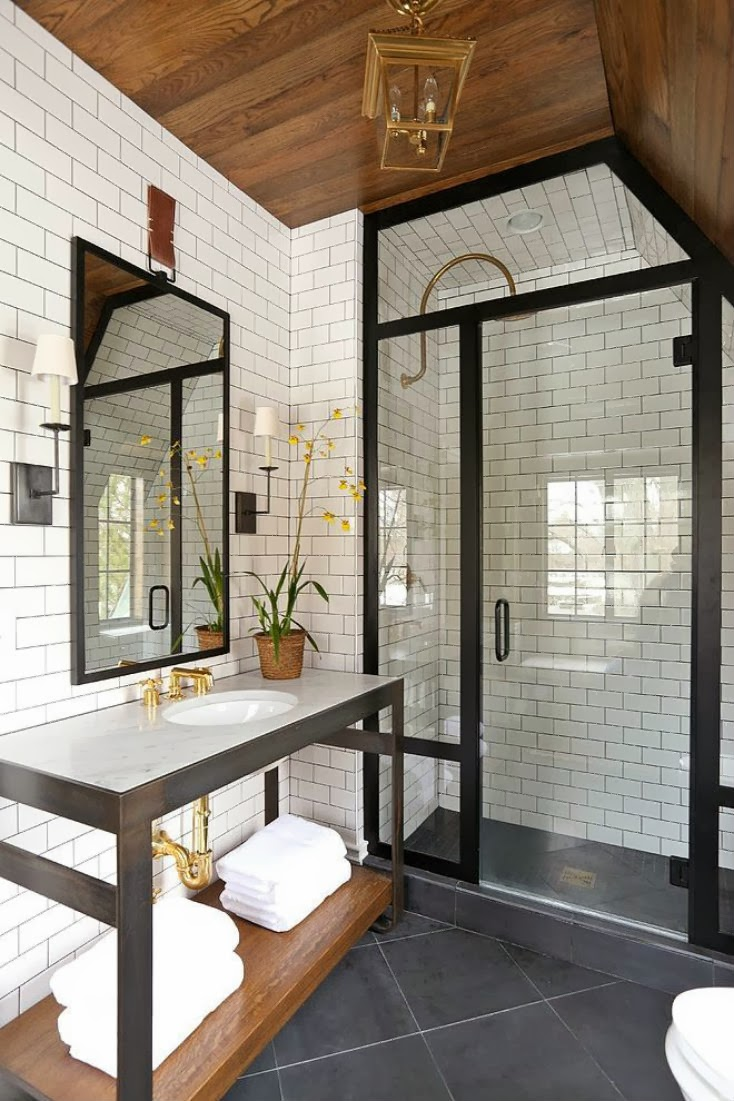 Black Frame Showers Sophisticated With Modern Industrial