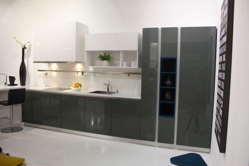 White and grey kitchen with built in shelves