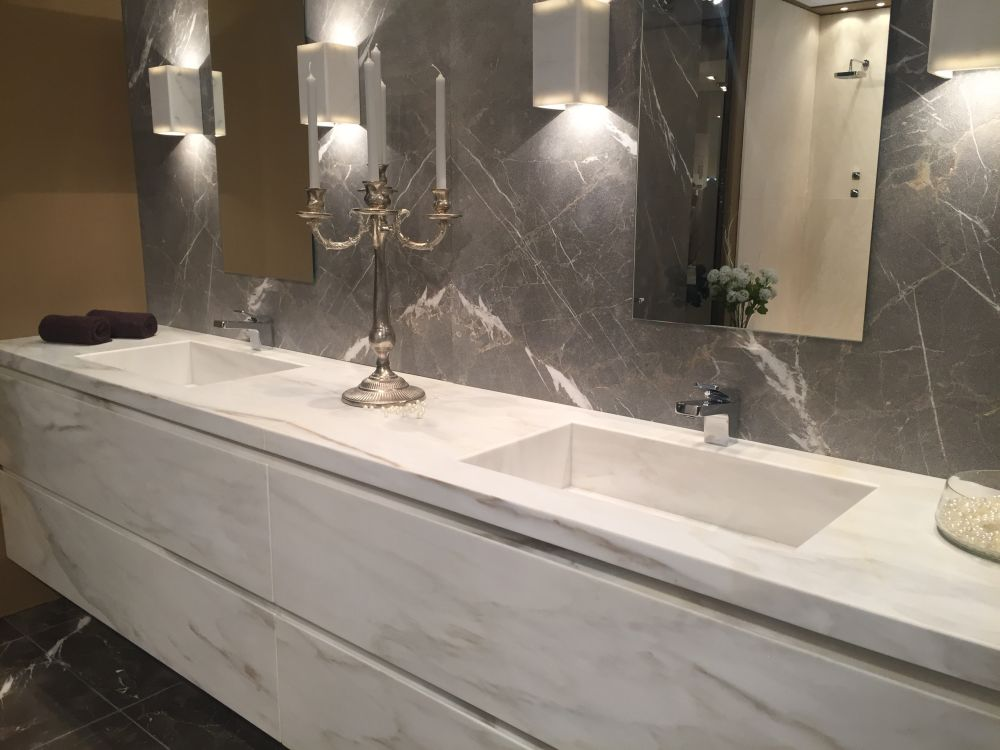 White and grey marble design with double sink vanities