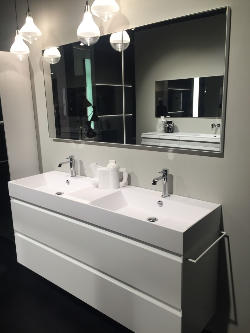 White bathroom vanity with double sink