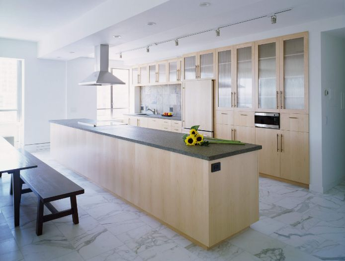 Genial White Marble Floor And Brown Kitchen