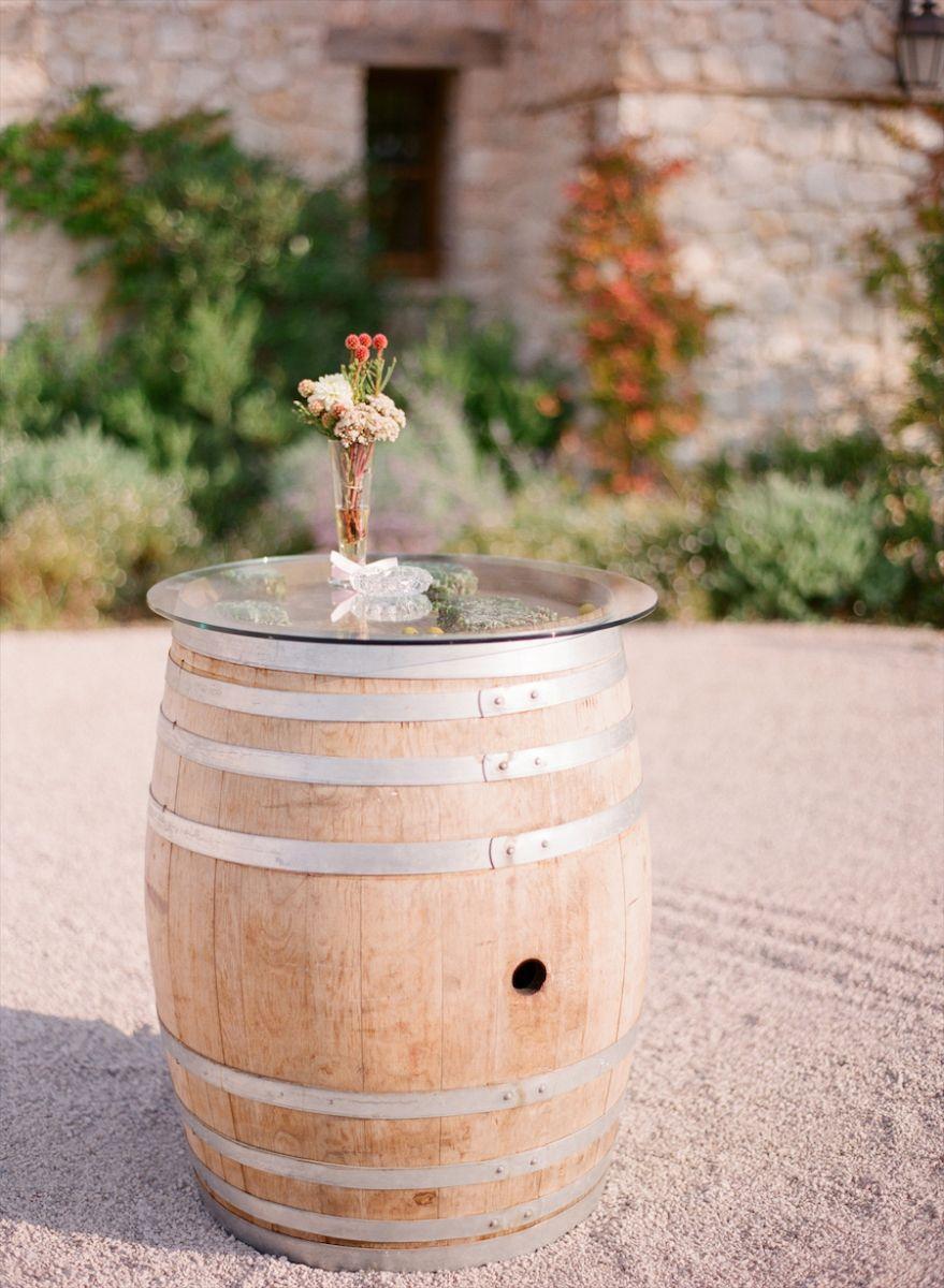 Wine Barrel Used Like Cocktail Table