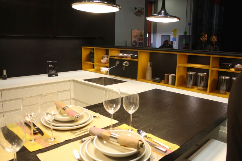 Yellow storage shelves for kitchen