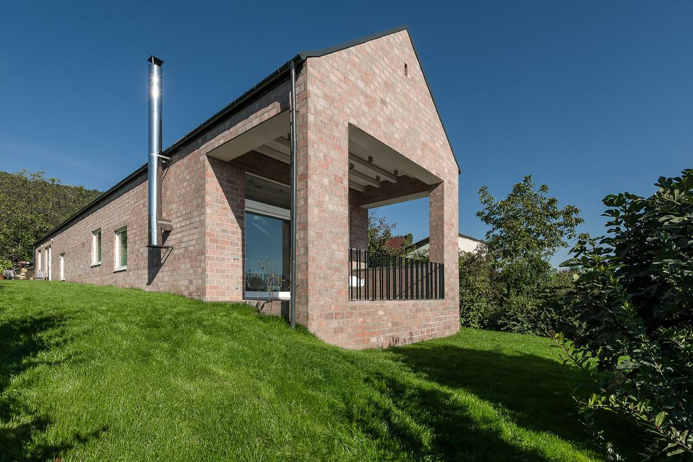 modern The Long Brick House in Hungary