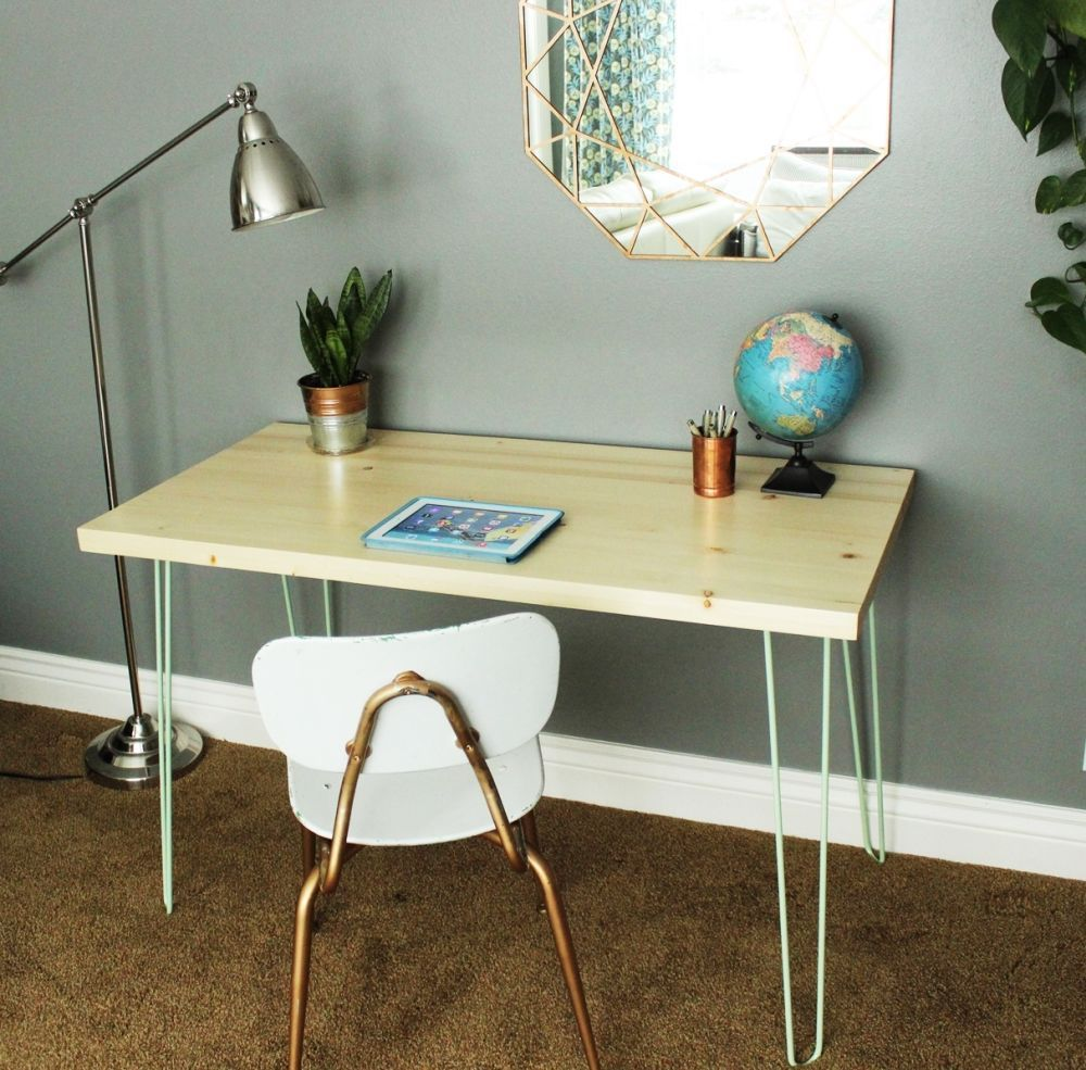 Diy contemporary hairpin leg desk diy level beginner watchthetrailerfo