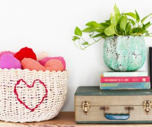DIY Heart Stitched Basket