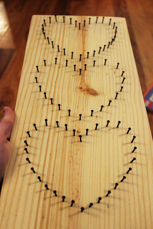 DIY Baker\'s Twine Heart String Art