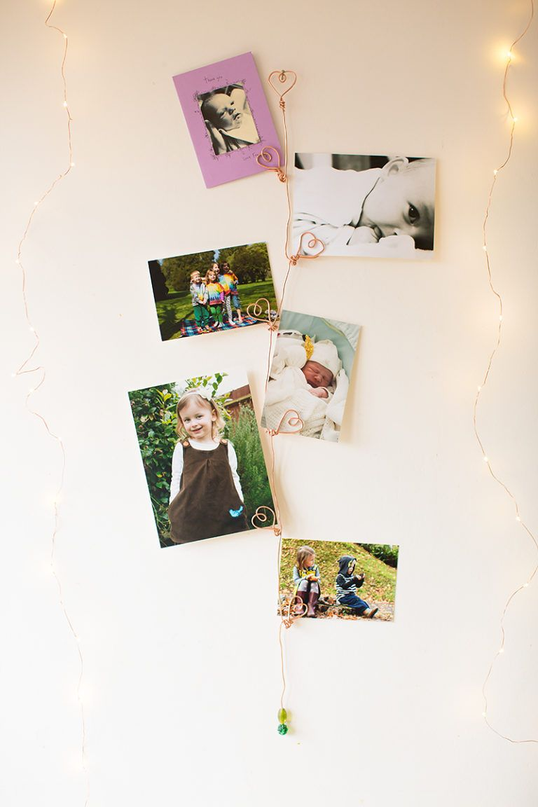 DIY Copper Wire Heart Photo Holder