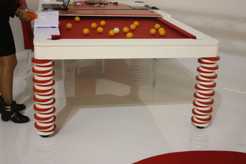 Red and white mbmbiliardi italy pool table
