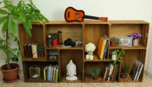 Create a Stylish Bookcase With Wooden Crates