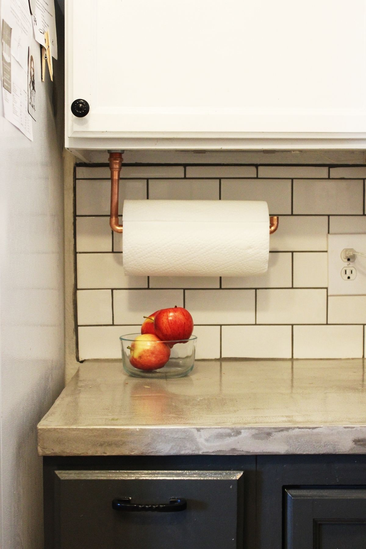 Diy under cabinet hanging copper paper towel holder for Hanging kitchen cabinets