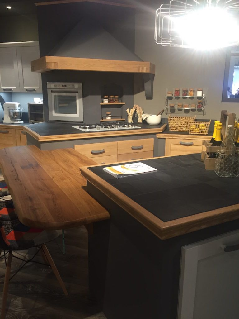 Wood countertops and dining surfaces can be made to match wood trim.