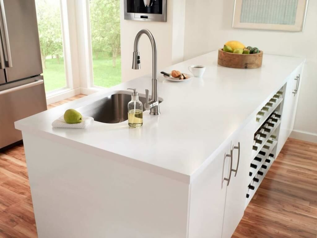 Solid surface countertops an easy care kitchen option for Corian countertop price