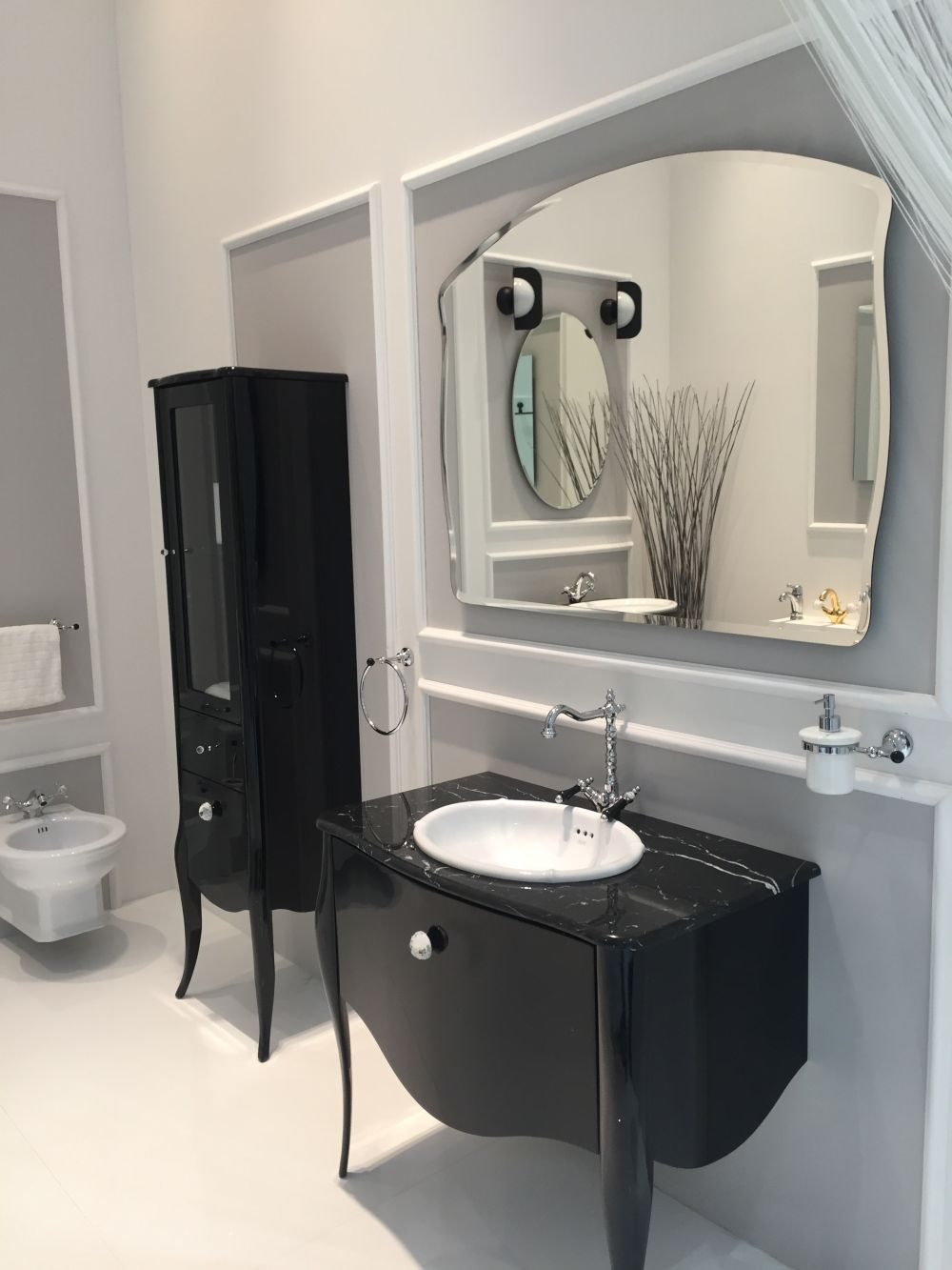 Black Vanity Into The Bathroom