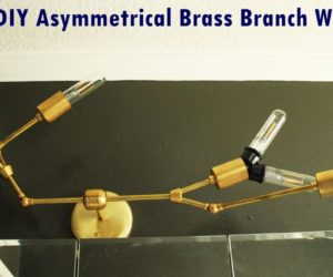 DIY Modern Asymmetrical Brass Branch Light