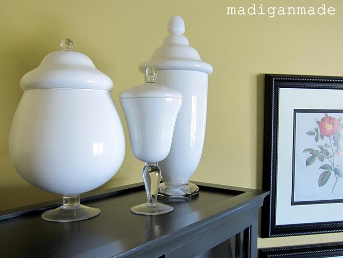 DIY Painted Milk glass Apothecary Jars