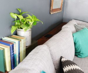 DIY Narrow Sofa Table With Outlet