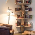 DIY tree trunk corner shelves