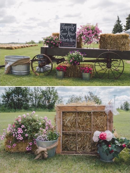 Display big flower arrangements in buckets