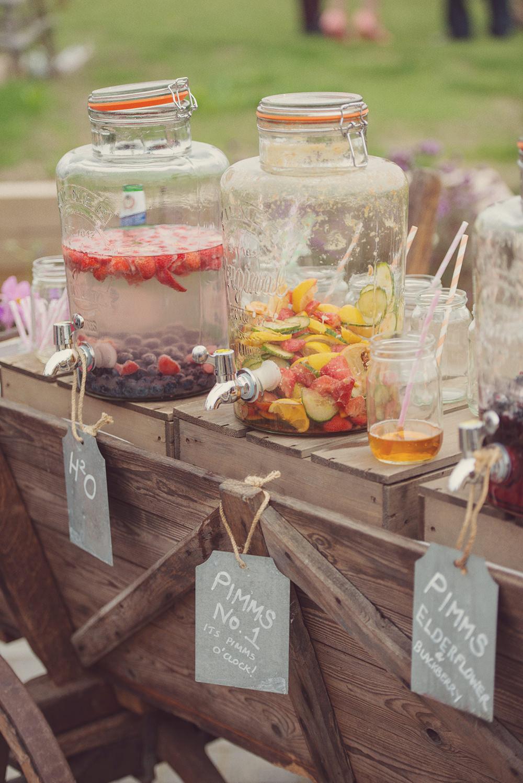 Put drinks in big glass jars