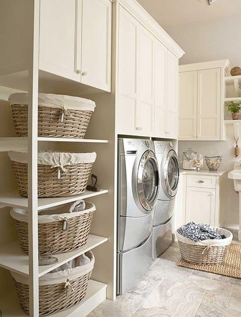 تنظيم غرفة الغسيل - تصنيف الغسيل في سلال