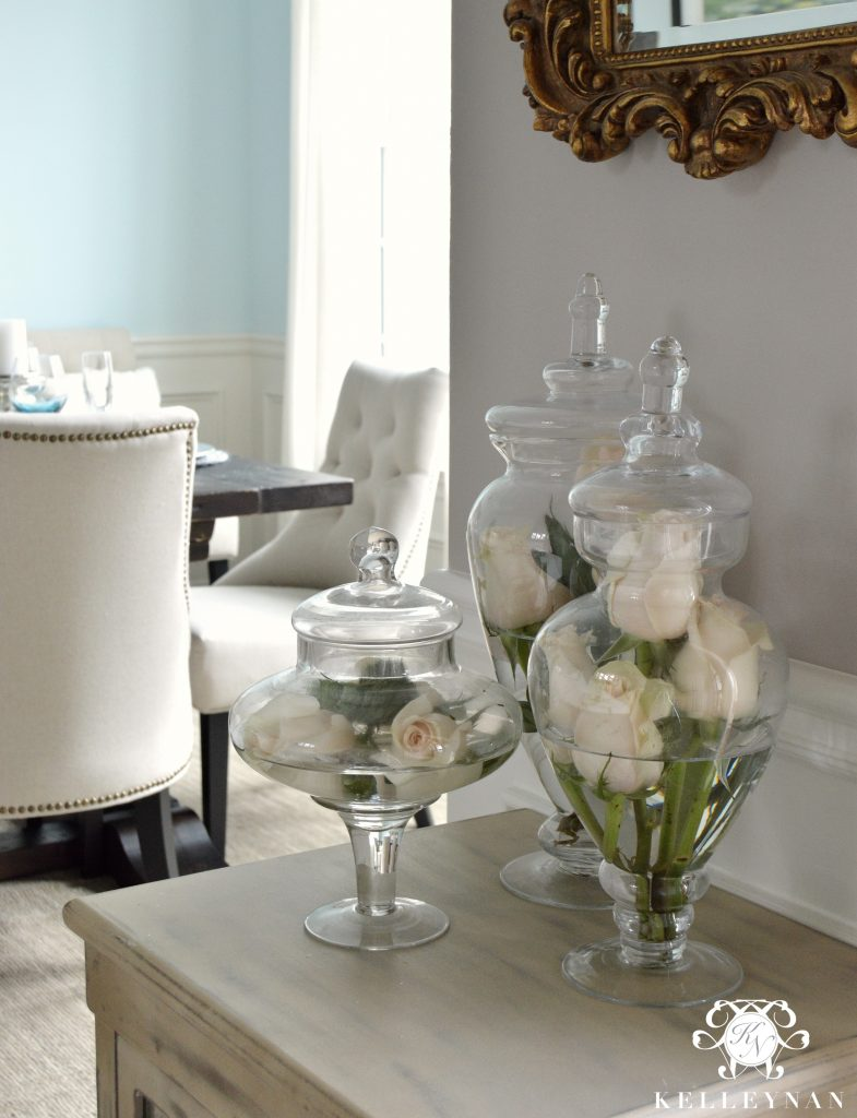 Live Rose Apothecary Jars